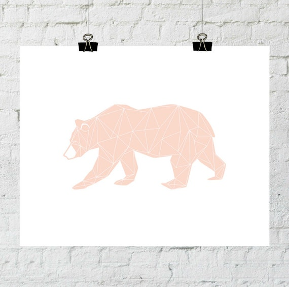 Bear Silhouette Art, Coral Nursery Art, Bear Printable, Printable Bear, Bear Wall Art, Downloadable Art, Mountain Decor, Coral