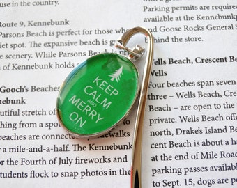 Bookmark, Silver Bookmark, Book Accessory, Christmas Gift, Keep Calm and Merry On Pendant, Hostess Gift, Gift For An Avid Reader