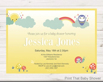 Baby Shower Invitation - Rainbow Baby Shower - Printable Invitation - Baby Shower Invites - Rainbow Invitation - Rainbows and Clouds
