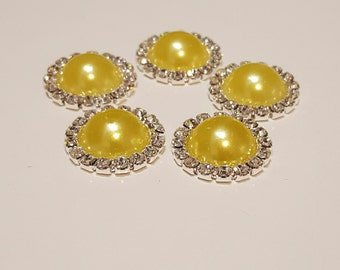 "Lemon Yellow and clear Rhinestone Buttons- (5) ""Yellow"" Buttons With Brilliant Clear Surrounding Rhinestones 21mm, Peach Buttons"