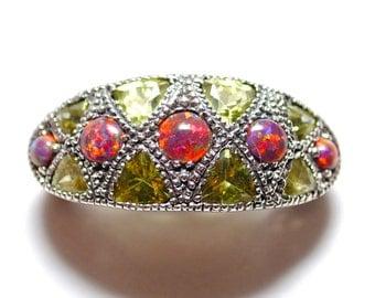 Sterling Silver Peridot Fire Opal Ring Sz 8 #4247