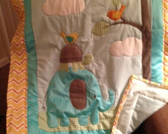 Hand quilted elephant hand made quilt