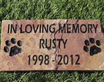 Sandblast Engraved Red Stone Pet Memorial Headstone Grave Marker Dog Cat ilm 4x8