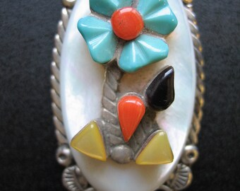 Vintage Signed S. Simplicio Zuni Turquoise, Coral, Sterling Silver Feather Accent Pendant
