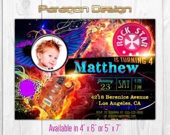Rock Star Custom Photo Birthday Invitation, Photo Card - Printable Digital File (151)