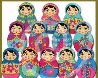 Matryoshka - Babushka - Russian Dolls ClipArt Collection - Instant Download