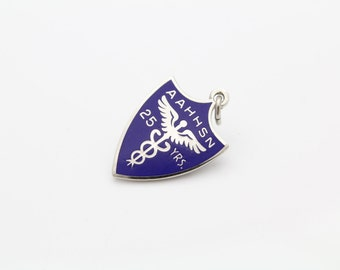 Vintage AAHHSN Shield-Shaped Charm in Blue Enamel and Sterling Silver. [11002]