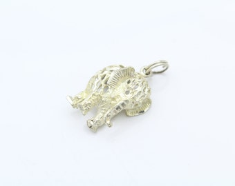Cute Sterling Silver Lucky Elephant Pendant. [6497]