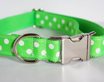 Lime Green Polka Dot Dog Collar