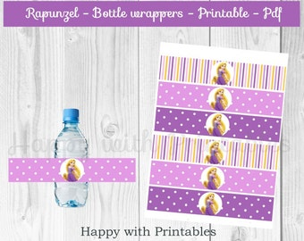 Rapunzel Bottle Wrappers - Tangled theme bottle wrappers - Rapunzel party - Tangled birthday - Rapunzel printable - Tangled printable