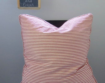 Red Ticking Stripe Custom Pillow Cover w/Piping and Invisible Zipper