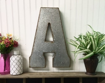 Large Metal Letter A/Galvanized Metal Wall Letter/Large Letter/Wedding/SSLID0028/Personalized/ Rustic Wall Art Industrial/Wall Letter
