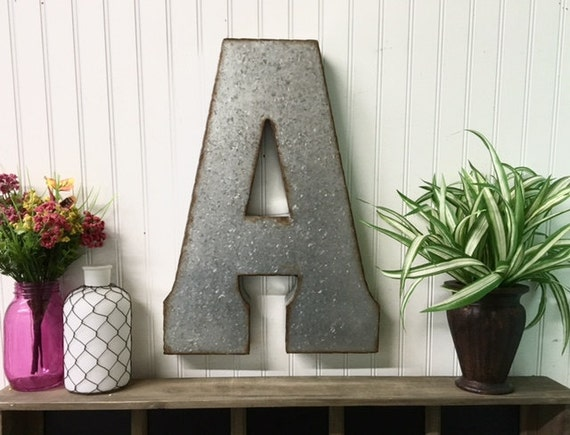 Large Metal Letters For Wall Large Metal Letter A Galvanized Metal Wall Letter Large Letter Wedding