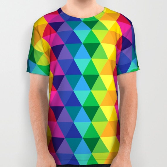 A Colorful All Over Print American Apparel Shirt with Triangles