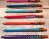 Pencils, Personalized mechanical pencils, party favor, school treat, personalized gift, teacher gift, stationary, come in quantities of 8