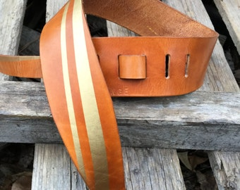 Hand Crafted Gold Stripe leather Guitar or Bass Strap