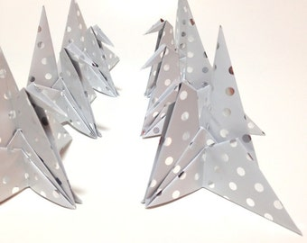 Silver Origami Guest Cards, Wedding Place Card, Origami Cranes, Place Card Holder, Silver Wedding Decorations, Japanese Origami Wedding