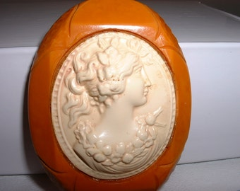 Vintage BAKELITE and Celluloid Cameo  Pin Brooch (E50)