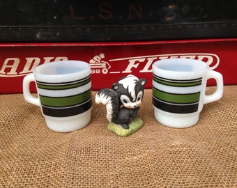 Pair of Stackable Fire King Green Black Striped Milk Glass Mugs