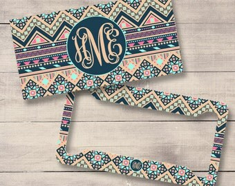 Navy and Peach Aztec Car Tags, Tribal Monogram License Plate and Frame, Personalized for Teenage Girls, Monogram Car Tag, Aztec Car (0033)