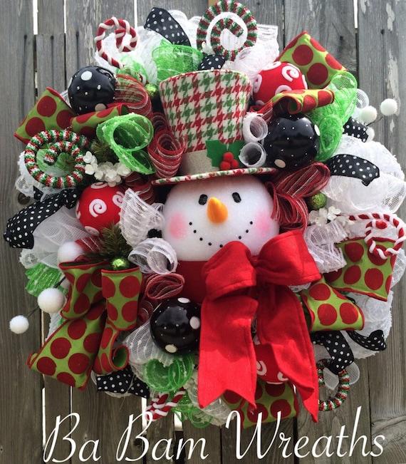 Snowman Wreath Snowman Decor Snowman Door Christmas Wreath