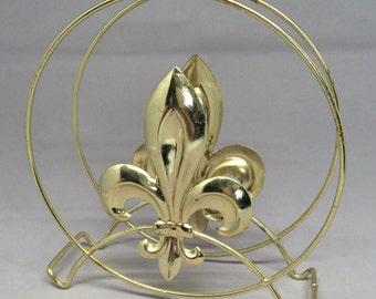Vintage Fleur De Lis Napkin Holder Brass Kitchen Dining Room Accessory Dainty Petite Rust Patina