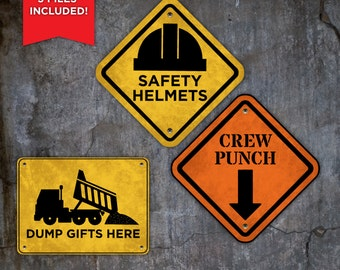 Construction Theme Birthday Signs, Birthday theme for boys, Party Supplies, Matching, Grunge, Dig In, Fuel, Caution, Danger, Party Kit