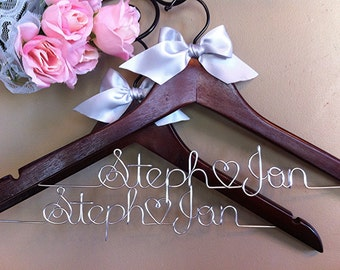 His & Hers Custom/ personalized Bridal Hanger with Satin Ribbon Bow Embellishment