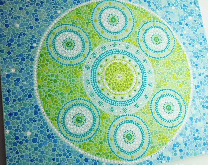 Mandala art. Indigenous Wall painting. Bohemian boho hanging art. Hippy dot art. Home decor. Ethnic painting. Gift ideas handmade.