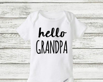hello Grandpa onesie, pregnancy announcement onesie
