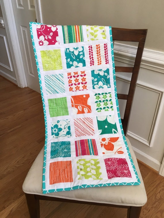 Quilted spring table runner, quilted summer table runner