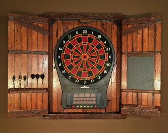 Rustic Large Electronic Dartboard Cabinet With Chalkboard, Home And Living    MADE TO ORDER