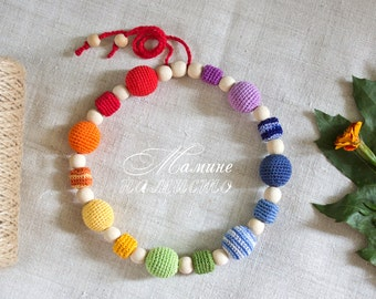 Chakra Rainbow Necklace, Breastfeeding Babywearing Accessory, Wooden Crochet Teething Sensory Toy, Baby Shower, new mom gift, baby gift