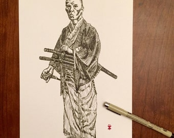 KillerBeeMoto: Pen Sketch of Vintage Samurai Photo Original Piece 8 by 13 Inches