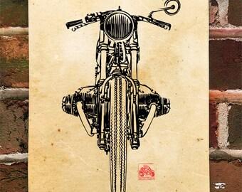 KillerBeeMoto: Limited Prints German Engineered Vintage Cafe Racer Motorcycle Poster (Ink Style Illustration) 1 of 50