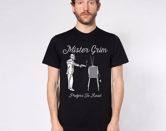 Mister Grim: Mister Grim Prefers To Read Short Sleeve T-Shirts