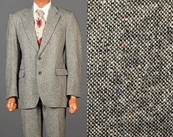 Mens Vintage 70s Suit Two Piece Tweed Multi Colored Fleck 2 Button Dillards Wool