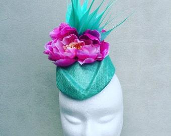 Pink and Aqua Fascinator Hat Races Weddings Special Events