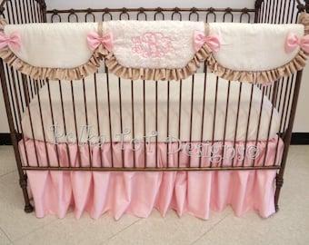 Linen, Faux Silk & Minky = Luxurious Charis baby bedding set