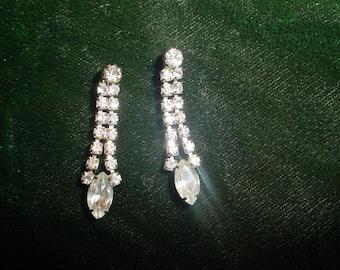 Clear Rhinestone Dangles Pierced Earrings