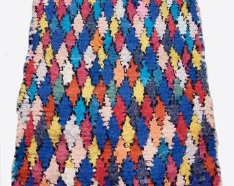 Moroccan boucherouite rug 05 (boucharouette) 201 x 105 cm (6'59'' x 3'44'') berber tribal art