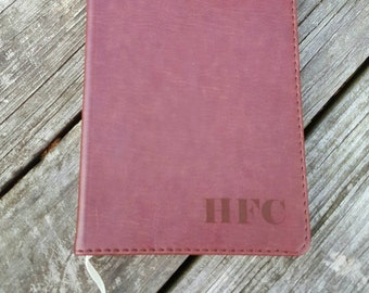 Laser Engraved Brown Faux Leather Journal with Initials ~ Father's Day ~ Gift for Grads ~ Office ~ Notes