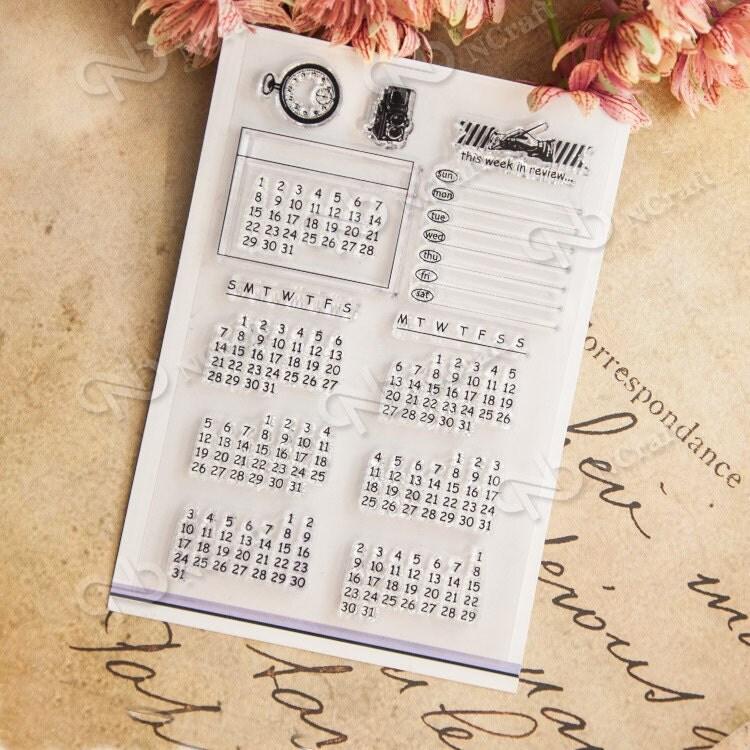 Calendar Stamp Bullet Journal : Calendar clear stamps set cm stamp