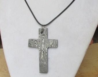 Hand Made Damascus Steel Cross Pendant, Optional Parachord Necklace,