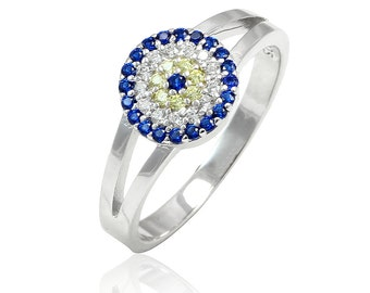 Round Evil Eye Ring Solid 925 Sterling Silver Round Blue Sapphire CZ Clear Diamond CZ Fancy Yellow CZ Split Shank Evil Eye Jewelry