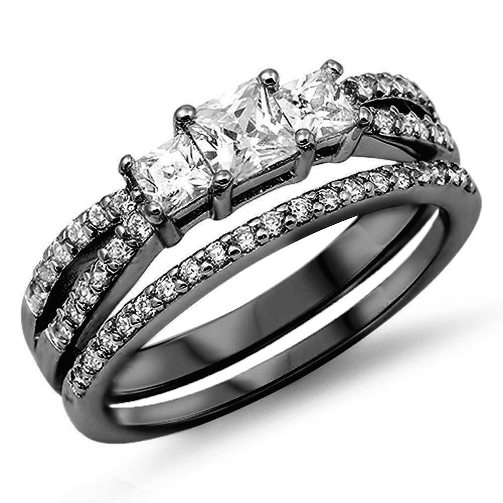 wedding engagement band ring sterling silver black gold