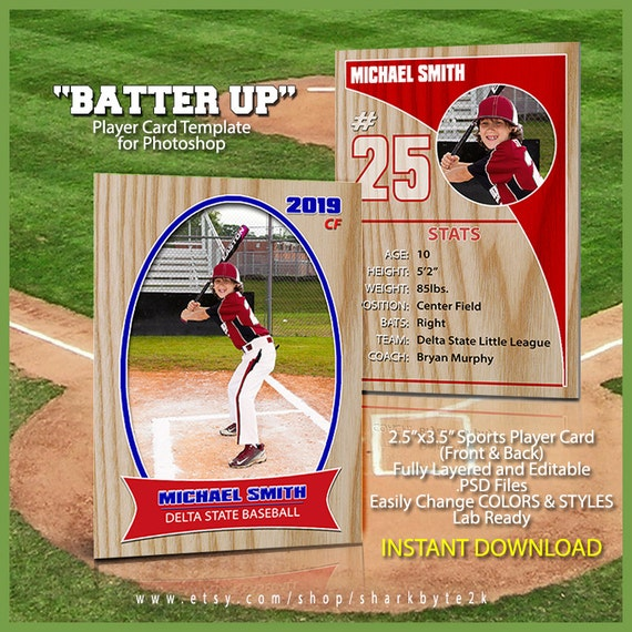 Baseball Sports Trader Card Template For Photoshop. BATTER UP. Simple ...