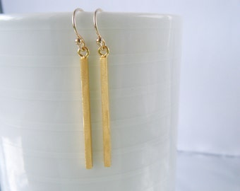 Gold bar earrings Slim gold earrings Long dangle earrings Minimalist bar jewelry Gift for her Gold stick earrings