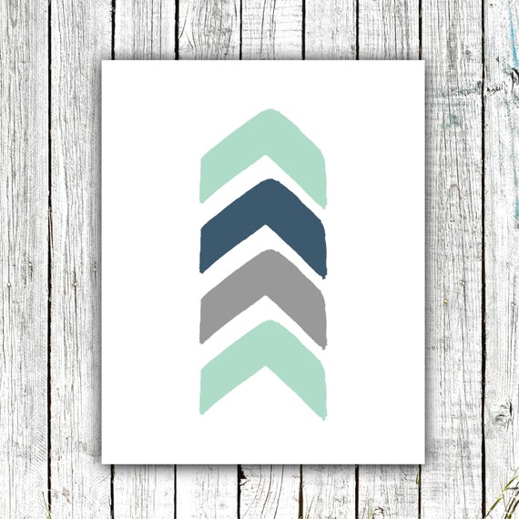 Nursery Art Printable, Chevron Arrow, Baby boy, Mint and Navy, Digital Download Size 8x10 #537