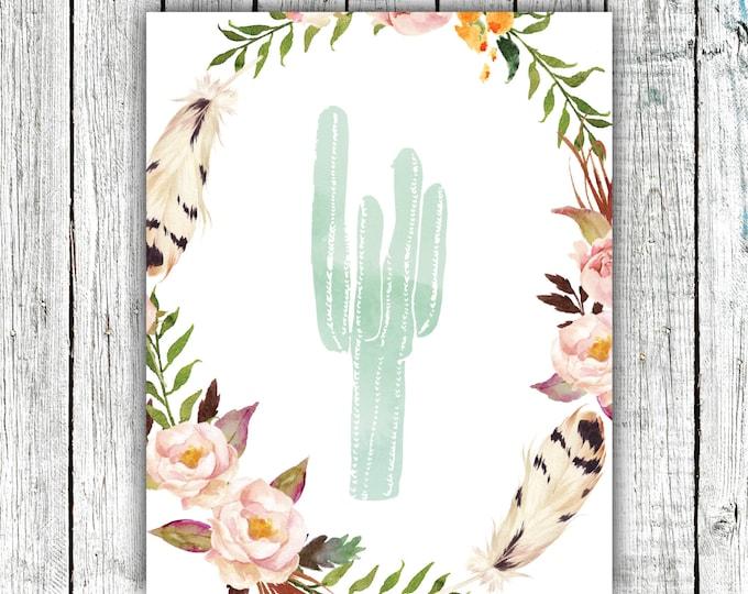 Printable Art, Cactus, 8x10, Hand drawn, Water color, floral, flowers, digital JPEG #509